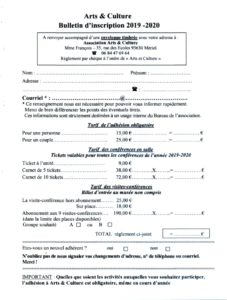 Bulletin d'inscription 2019-2020