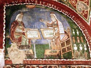 Fresque médiévale représentant Galien et Hippocrate, Anagni-WEB