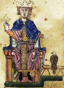 7 Frédéric II et son faucon représentés dans son livre - Copie